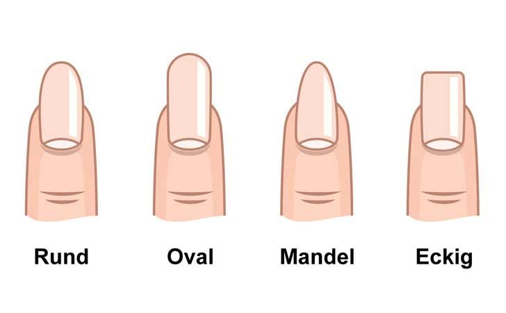 Verschiedene Nagelformen und ihre Namen